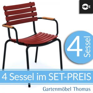 HOUE Clips SET   4 Sessel Rot (Paprika Rot)   Gestell Schwarz   Armlehnen