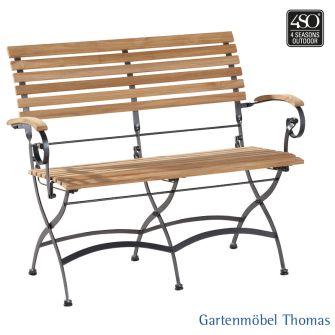 4Seasons BELLINI 2-Sitzer Klappbank Eisen - Belattung und Armlehne Teakholz