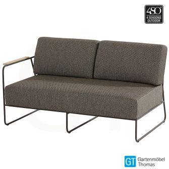 4Seasons COAST 2,5-Sitzer Sofa rechts - Bezug Olefin Graubraun - Edelstahl Anthrazit