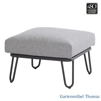 4Seasons PREMIUM Lounge Hocker Alu + 1 Kissen Grau