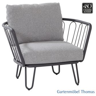 4Seasons PREMIUM Lounge Sessel Alu + 2 Kissen Grau