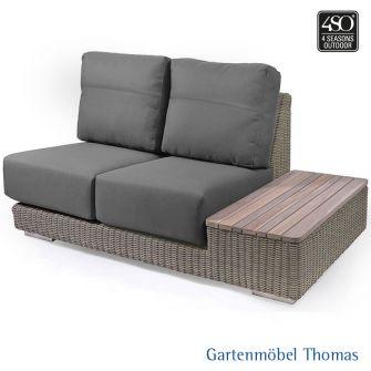 4Seasons KINGSTON Lounge 2-Sitzer Ablage links Geflecht + 4