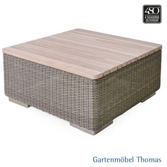 4Seasons KINGSTON Loungetisch 85x85 Geflecht + Teakplatte