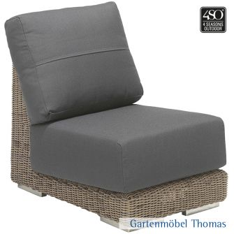 4Seasons KINGSTON Lounge Mittelmodul Geflecht + 2 Kissen Gr