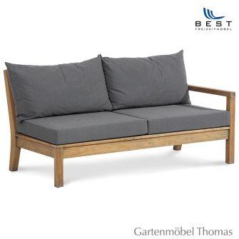 Best MORETTI Lounge Seitenteil 2-Sitzer rechts inkl. Kissen Farbe Grau