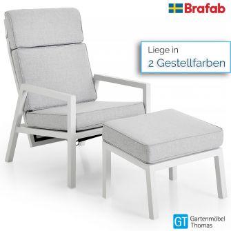 Brafab BELFORT Sessel mit Hocker - Alu - inkl. Sitz- Rückenkissen