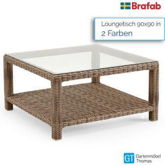 Brafab NINJA Loungetisch 90x90cm - Geflecht - inkl. Glasplatte