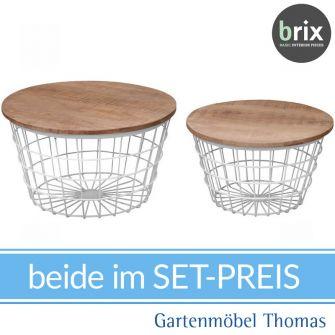 brix DAVE Beistelltisch Gittergeflecht Metall Weiß - Tischplatte Teak - 2er Set