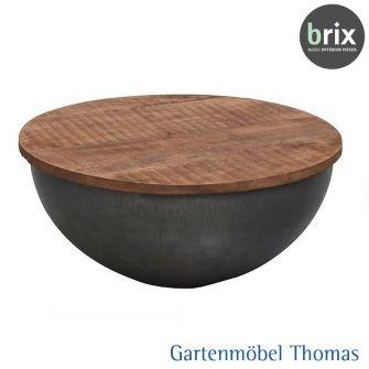 brix SUZAN Beistelltisch rund 80cm Metall schwarz / Tischplatte Teak