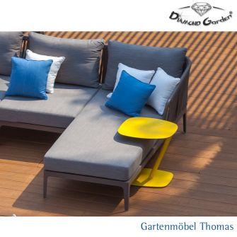 Diamond Garden CALAIS Canape rechts Alu Farbe Anthrazit - Kordel Grau inkl. Sitz- Rückenkissen