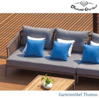 Diamond Garden CALAIS Loungeecke rechts Alu Farbe Anthrazit - Kordel Grau inkl. Sitz- Rückenkissen