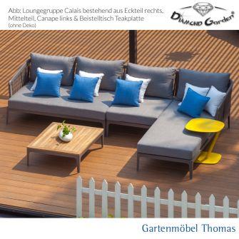 Diamond Garden CALAIS Lounge Eckteil Alu Farbe Anthrazit - Kordel Grau inkl. Sitz- Rückenkissen