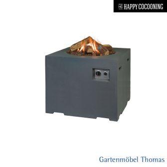Happy Cocooning Feuertisch 76x76cmx67cm - Betonoptik Farbe Grau - Gasbetrieb