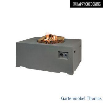 Happy Cocooning Feuertisch 76x76cm - Betonoptik Farbe Grau - Gasbetrieb