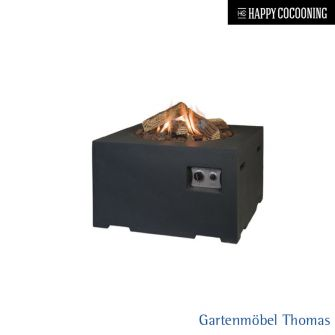 Happy Cocooning Feuertisch 60x60cm - Betonoptik Farbe Schwarz - Gasbetrieb