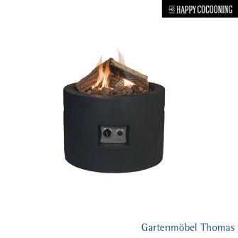 Happy Cocooning Feuertisch 61cm Rund - Betonoptik Farbe Schwarz - Gasbetrieb