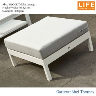 Life BLOCK Lounge SET - Hocker Alu Weiss + Kissen Sunbrella Hellgrau