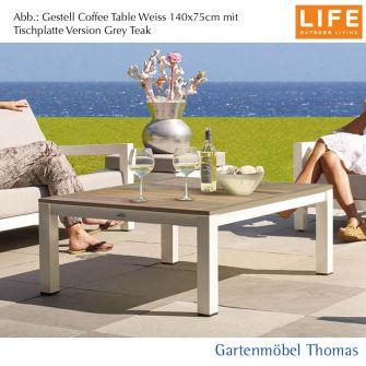 Life BLOCK Kaffeetisch Gestell 90x90 Alu weiss - OHNE Auflage