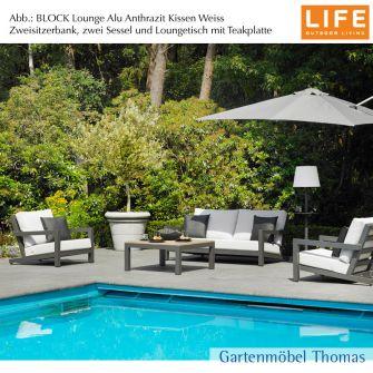 Life BLOCK Lounge Alu Lava (Anthrazit) SET - 2-Sitzer-Bank + Kissen AW Weiß