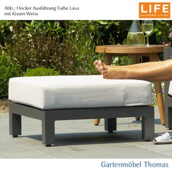 Life BLOCK Lounge Alu Lava (Anthrazit) SET - Hocker + Kissen Sunbrella Mausgrau