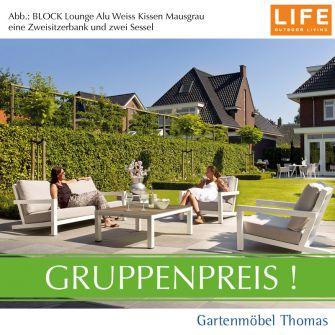 Life BLOCK Lounge Alu Weiß GRUPPE - 2 Sessel + Bank + Tisch-Teakplatte Grau + Kissen Sunbrella mausgrau