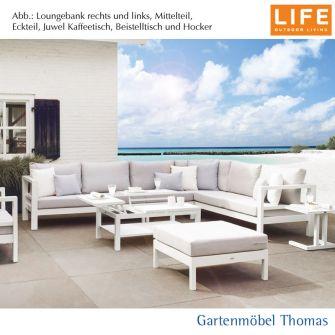 Life DELTA Lounge SET- Eckmodul Alu Weiß + Kissen Hellgrau Sunbrella