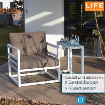 Life FABRI Lounge Sessel Alu weiss - mit Sitz- Rückenkissen