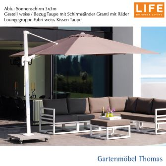 gartenm bel thomas life palermo ampelschirm 3x3m alu weiss bezug taupe hier online kaufen. Black Bedroom Furniture Sets. Home Design Ideas