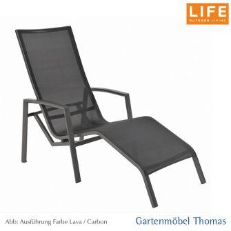 Life SPRING SET- 2 Relaxliege Alu Lava - Textilene Carbon - Armlehne Alu Lava