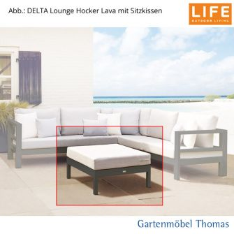 life delta lounge set hocker alu lava sunbrella kissen hellgrau onine kaufen gartenm bel. Black Bedroom Furniture Sets. Home Design Ideas