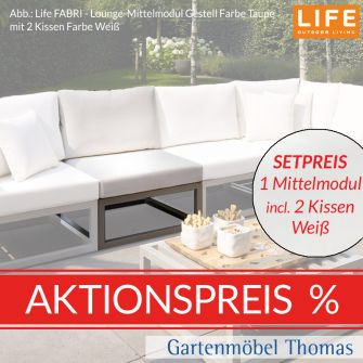 Life FABRI Lounge Alu Taupe SET - Mittelmodul + Kissen AW Weiß
