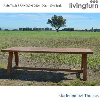 Livingfurn BRANDON Tisch 260x100cm - Outdoor - Old-Teak
