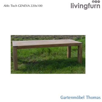 Livingfurn GENEVA Tisch 200x100cm Oldteak Outdoor