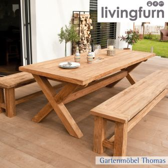 Livingfurn CROSS Tisch 240x100x78cm - Oldteak Outdoor