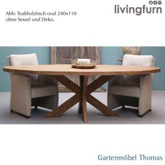 Livingfurn BEEK DK Tisch oval 240x110x76cm Oldteak Indoor