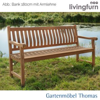 Livingfurn PATRICK Bank 150x50cm mit Armlehne geschwungene Sitz-Rückenfläche Teakholz In/Outdoor