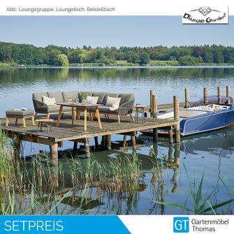 Diamond Garden PALMA Loungeecke Teakholz  - Rope Band Grau inkl. Sitz- Rückenkissen