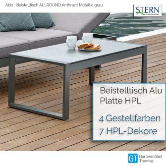 Stern ALLROUND Beistelltisch 122,5x60cm - Gestell Alu - Tischplatte HPL (Silverstar 2.0)