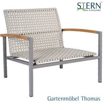 Stern LUCY Loungesessel - Aluminium taupe - Gurtbespannung natur