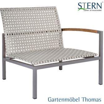 Stern LUCY Lounge Seitenelement links - Aluminium taupe - Gurtbespannung natur
