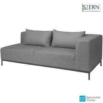 Stern TAAVI 2,5 Sitzer Sofa links - Aluminium anthrazit - Outdoorstoff kristall anthrazit - inkl. Rückenkissen und Schutzhülle