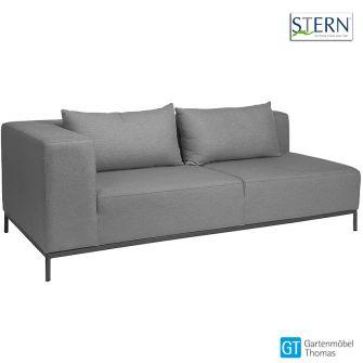 Stern TAAVI 2,5 Sitzer Sofa rechts - Aluminium anthrazit - Outdoorstoff kristall anthrazit - inkl. Rückenkissen und Schutzhülle