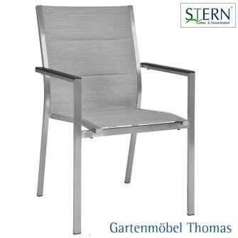 Stern CARDIFF Stapelsessel Edelstahl - Bezug Textilene Silber gepolstert - Aluarmlehne Anthrazit
