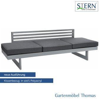 Stern NEW HOLLY Gartenliege/Lounge - Aluminium graphit - Sitz- Gartenliegenkissen schiefergrau