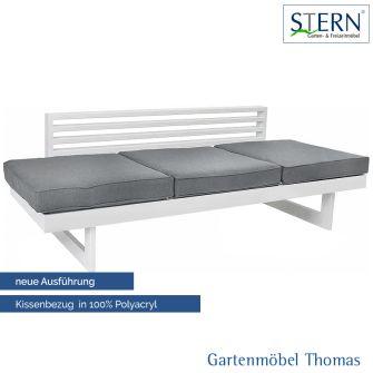 Stern NEW HOLLY Gartenliege/Lounge - Aluminium weiss - Sitz- Gartenliegenkissen seidengrau