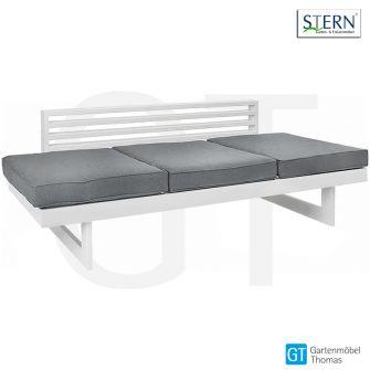 Stern NEW HOLLY DINING Bank/Lounge - Aluminium weiss - Sitz- Liegenkissen seidengrau