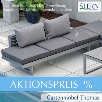 Stern HOLLY Bank/Liege - Alu graphit - Sitz- Gartenliegekissen dunkelgrau Polyester
