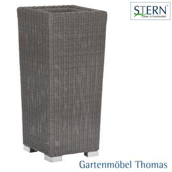 Stern PFLANZKÜBEL 39x39x111cm - Geflecht basaltgrau