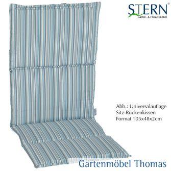 Stern Sitz- Rückenkissen 115x50x2 Dekor Streifen Aqua