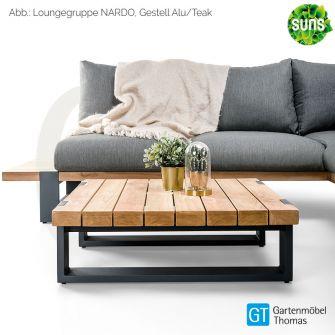 Suns NARDO Loungetisch / Beistelltisch 80x80cm Alu grau - Teakplatte